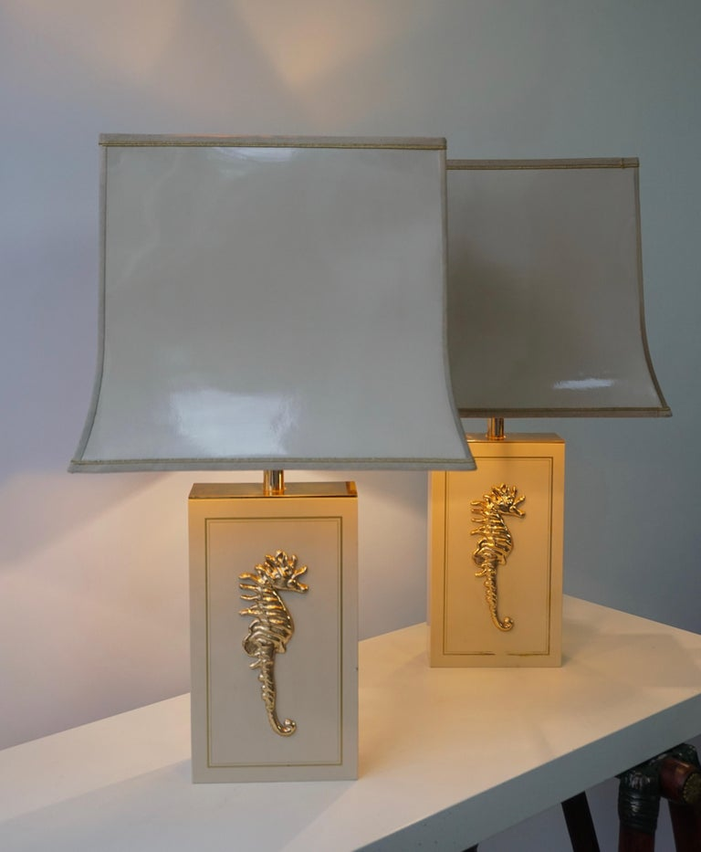 20th Century Sea Horse Set of Two Table Lamps For Sale