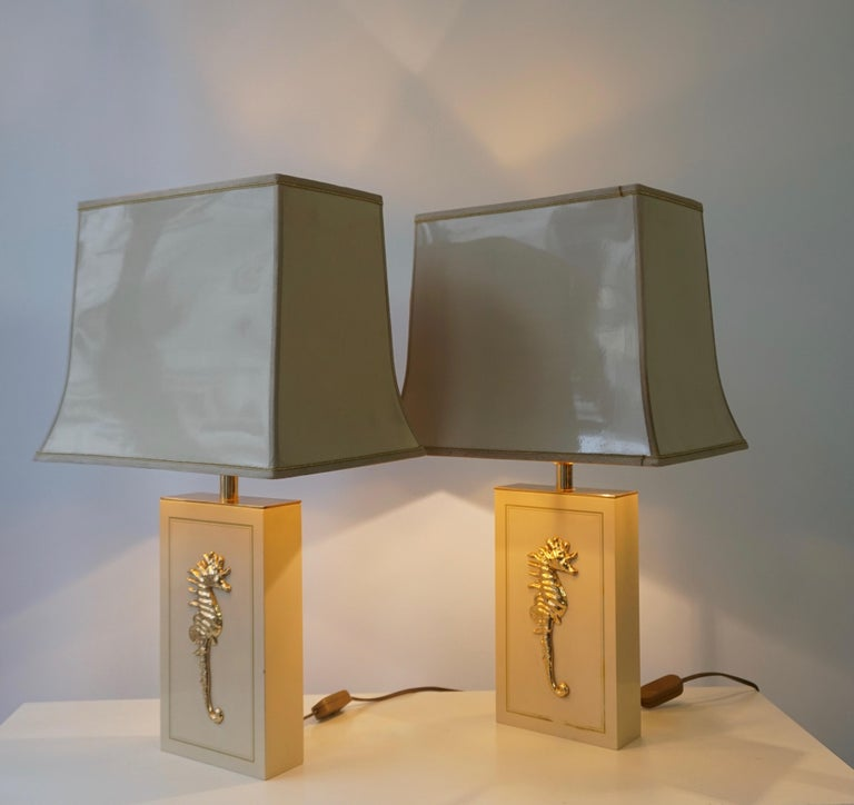 Brass Sea Horse Set of Two Table Lamps For Sale