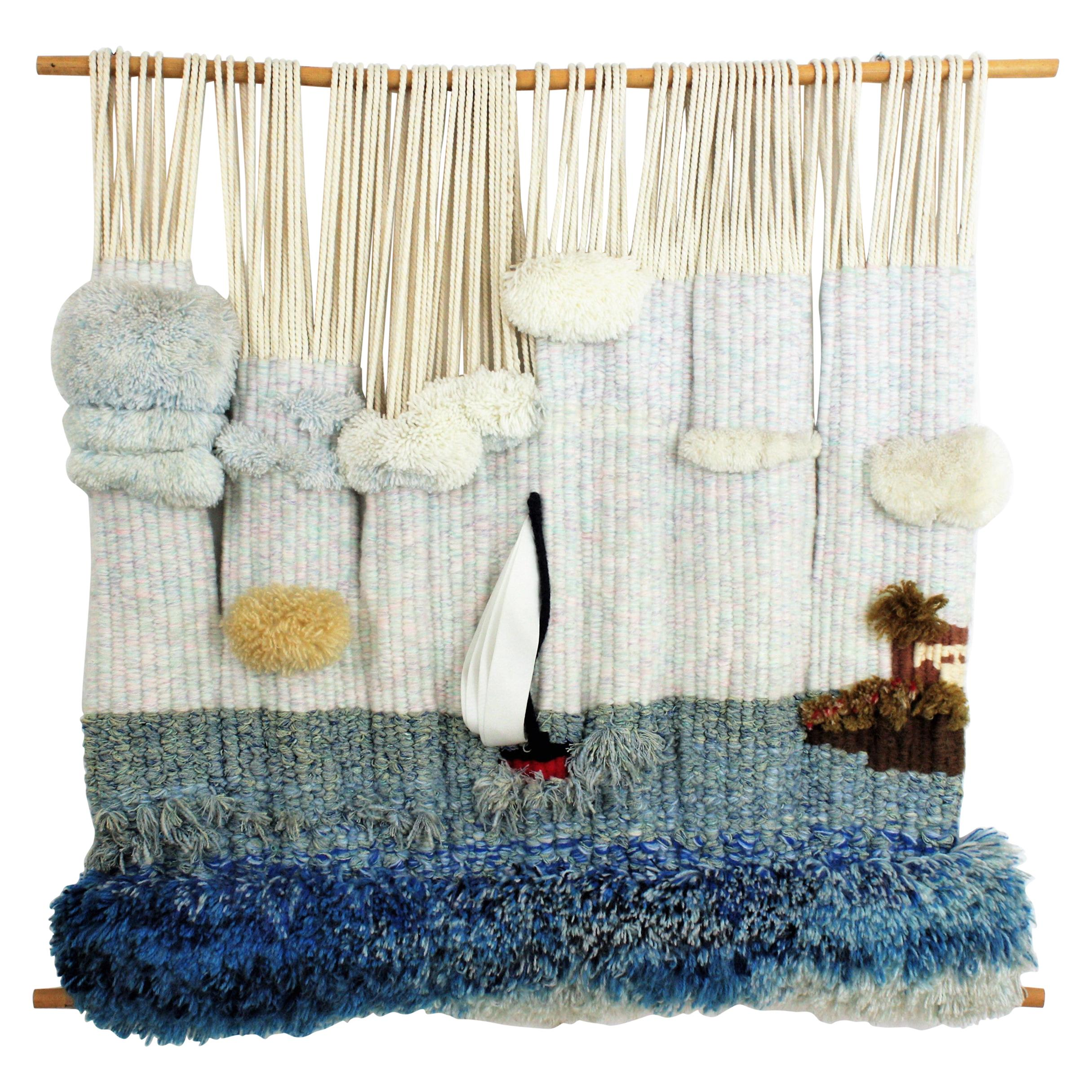 Sea Landscape Macrame Wall Hanging Tapestry / Textile Wall Art, 1970s