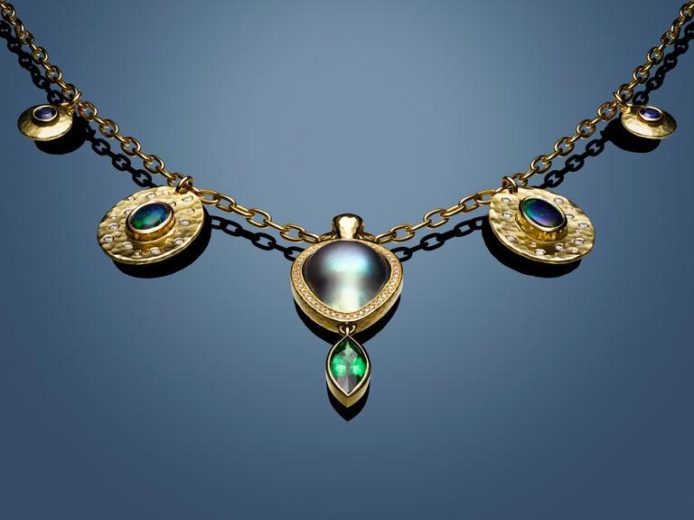 Artisan Sea of Cortez Pearl, Diamond and Tsavorite Pendant Necklace For Sale