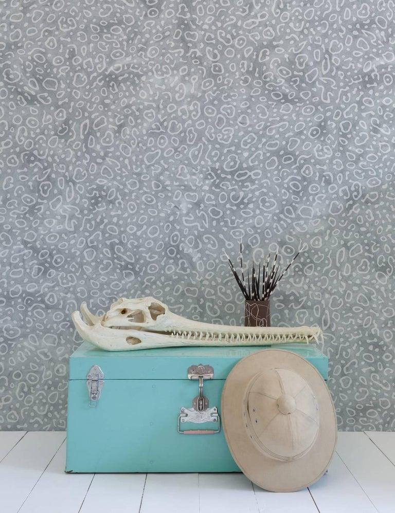 Sea Ray Designer Wallpaper in Angora 'Pale Grey and Blue-Grey' In New Condition For Sale In Brooklyn, NY