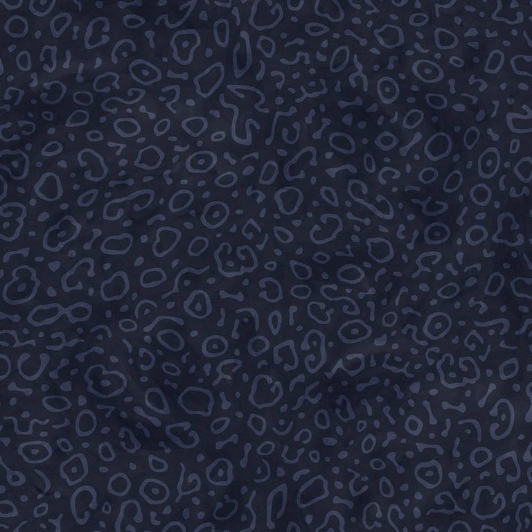 Sea Ray Designer Wallpaper in Ultramarine 'Denim and Navy Blue' For Sale