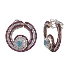 Sea Shell Diamonds and Pink Sapphire Hoop Earrings in 18 Karat Gold