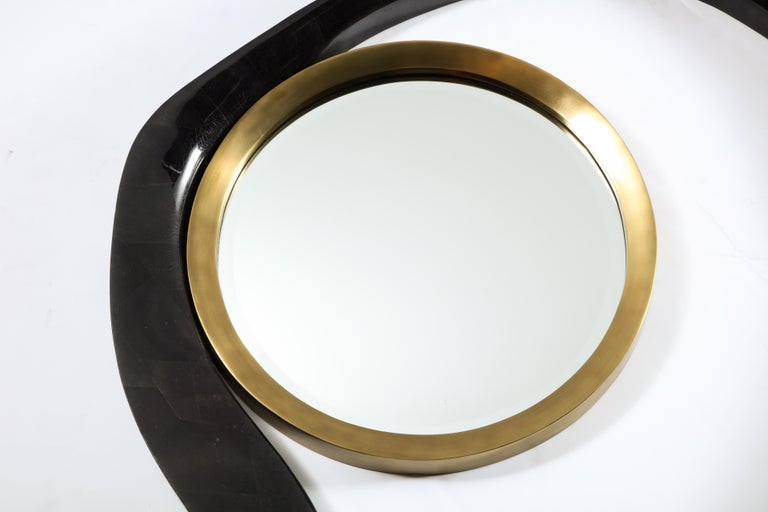 Art Deco Mirror, Black Sea Shell with Brass Detail, Organic Style, Contemporary, In Stock For Sale