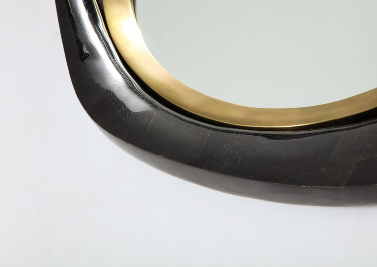 Mirror, Black Sea Shell with Brass Detail, Organic Style, Contemporary, In Stock For Sale 1