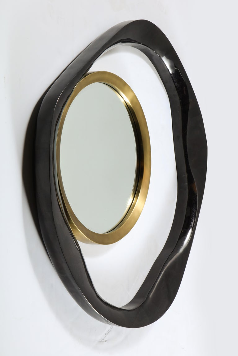 Mirror, Black Sea Shell with Brass Detail, Organic Style, Contemporary, In Stock For Sale 2