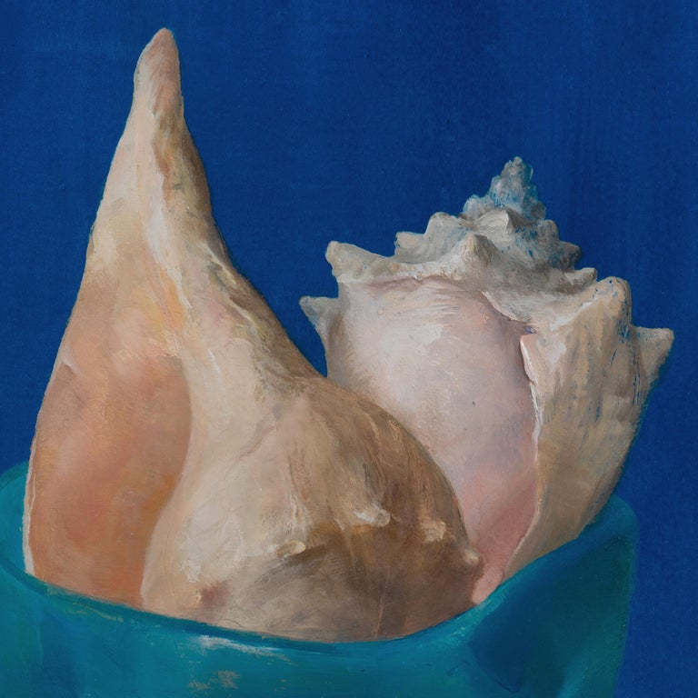 Modern Sea Shells in Blue, Oil on Panel Still Life Painting with Seashell Collection For Sale
