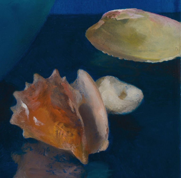 American Sea Shells in Blue, Oil on Panel Still Life Painting with Seashell Collection For Sale