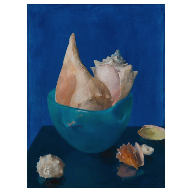 Sea Shells in Blue, Oil on Panel Still Life Painting with Seashell Collection For Sale