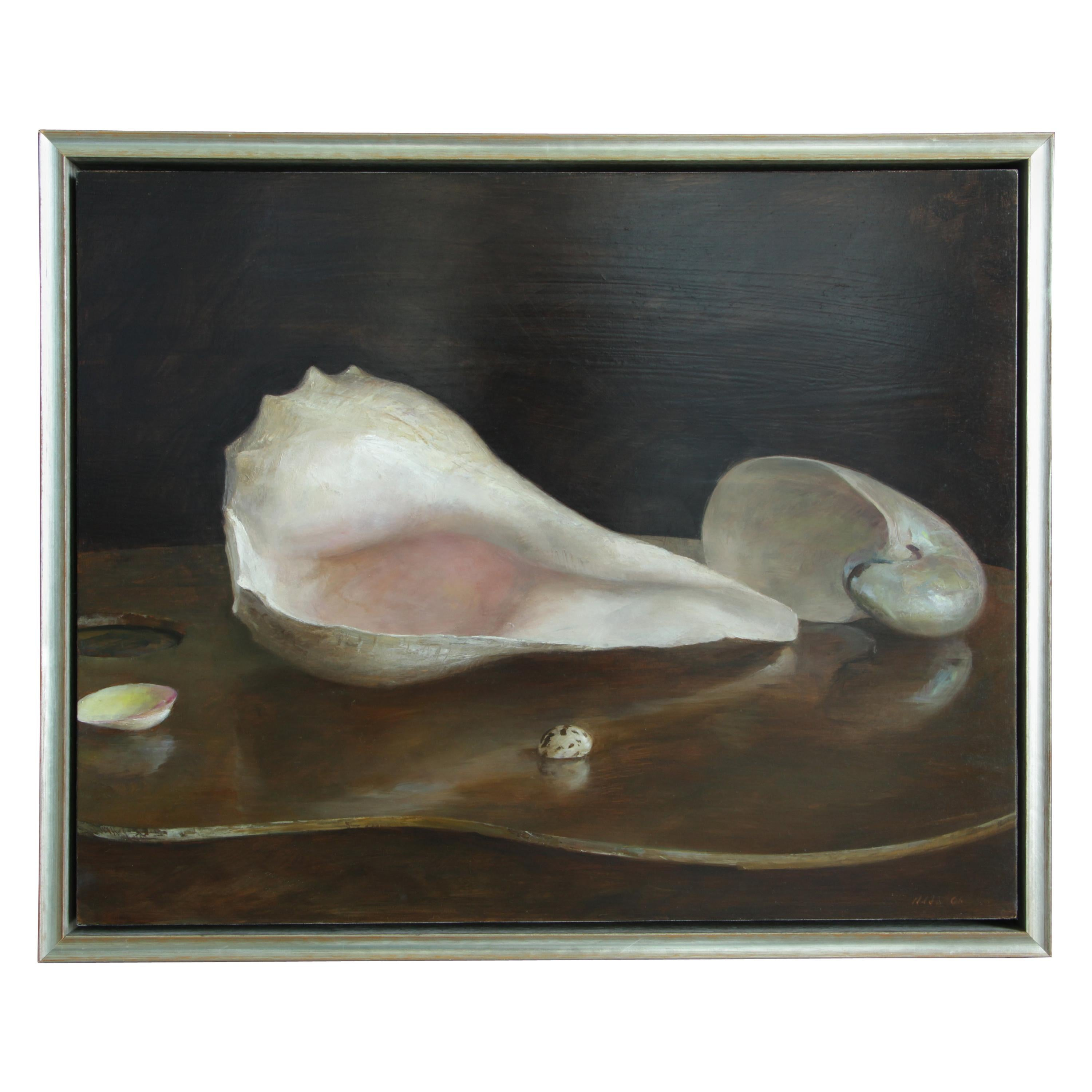 Sea Shells on an Artist's Palette, Original Oil Painting by Helen Oh