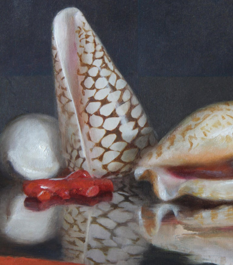 Modern Sea Shells on Lacquer Tray, Oil on Panel with Silver Leaf Still Life Painting For Sale
