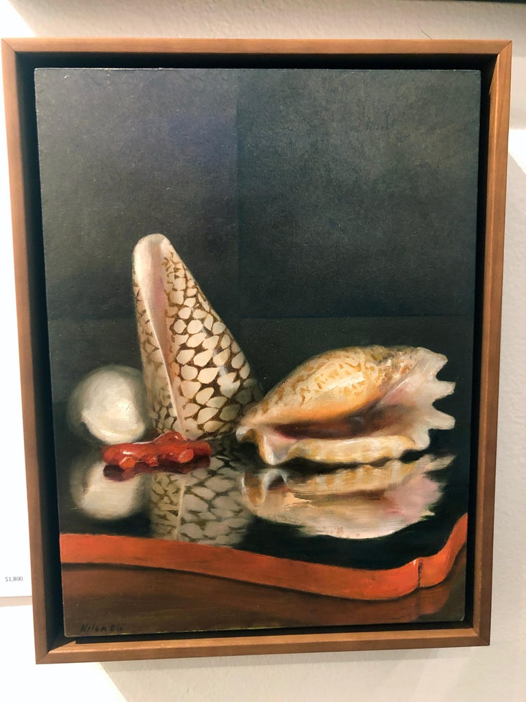 Sea Shells on Lacquer Tray, Oil on Panel with Silver Leaf Still Life Painting In New Condition For Sale In Chicago, IL