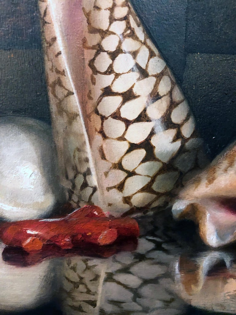 Sea Shells on Lacquer Tray, Oil on Panel with Silver Leaf Still Life Painting For Sale 1