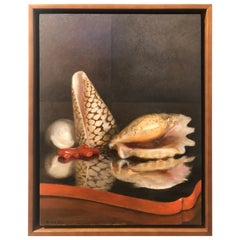 Sea Shells on Lacquer Tray, Oil on Panel with Silver Leaf Still Life Painting