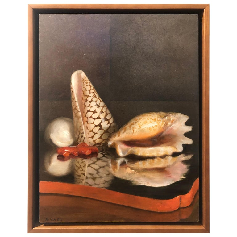 This delicately rendered painting presents the viewer with a collection of objects to contemplate. Three sea shells and a chunk of red coral are arranged atop a reflective lacquer tray, the glossy red painted edge emphasizes the red chunk of coral