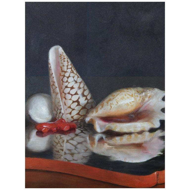 Sea Shells on Lacquer Tray, Oil on Panel with Silver Leaf Still Life Painting For Sale