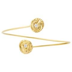 """Sea Star"" and 0.20 Carat Diamond Bypass Bracelet in 18 Karat Gold"