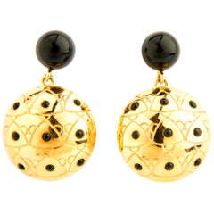 Sea Urchin Earrings with Onyx and Gold 18 Karat