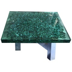 "Seafoam Green Lucite and Murano Glass Coffee Table on Brass Base ""Riflessioni"""