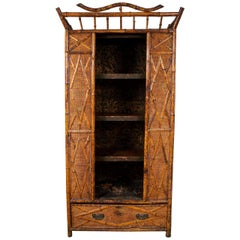 Seagrass and Bamboo Victorian Armoire with Open Shelves