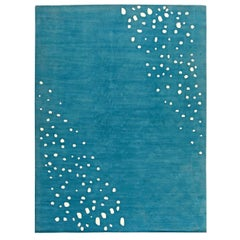 Seagull Tibetan Silk Rug in Ocean Blue and White