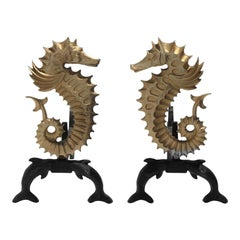 Seahorse and Dolphins Andirons