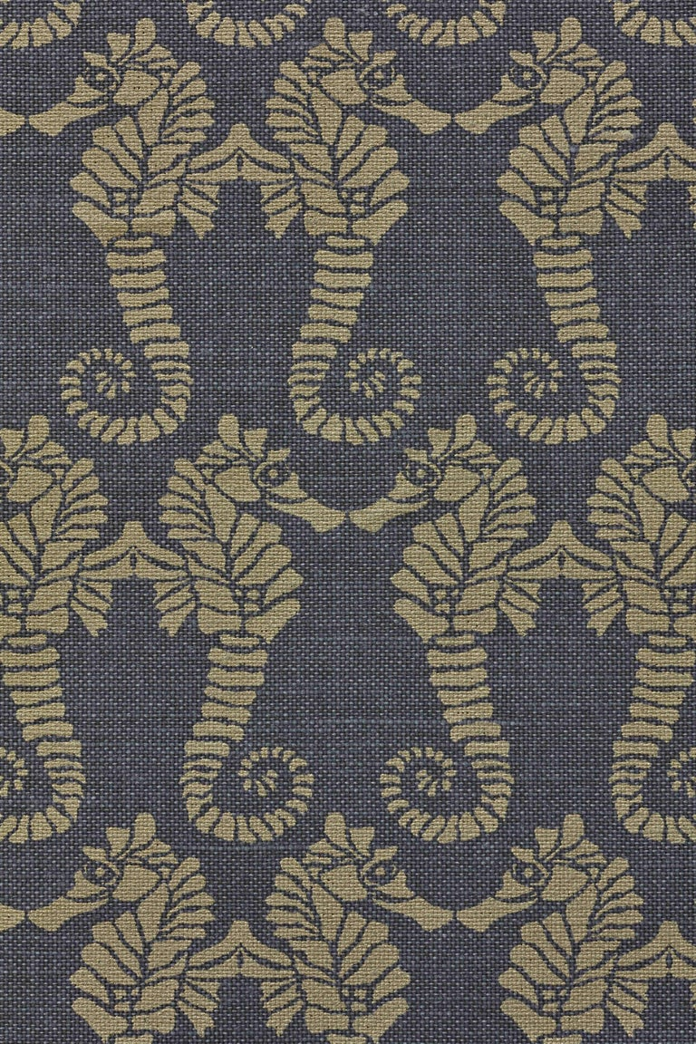 British 'Seahorse' Contemporary, Traditional Fabric in Gold on Charcoal For Sale