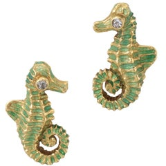 Seahorse Diamond Earrings Vintage 18 Karat Yellow Gold Green Enamel