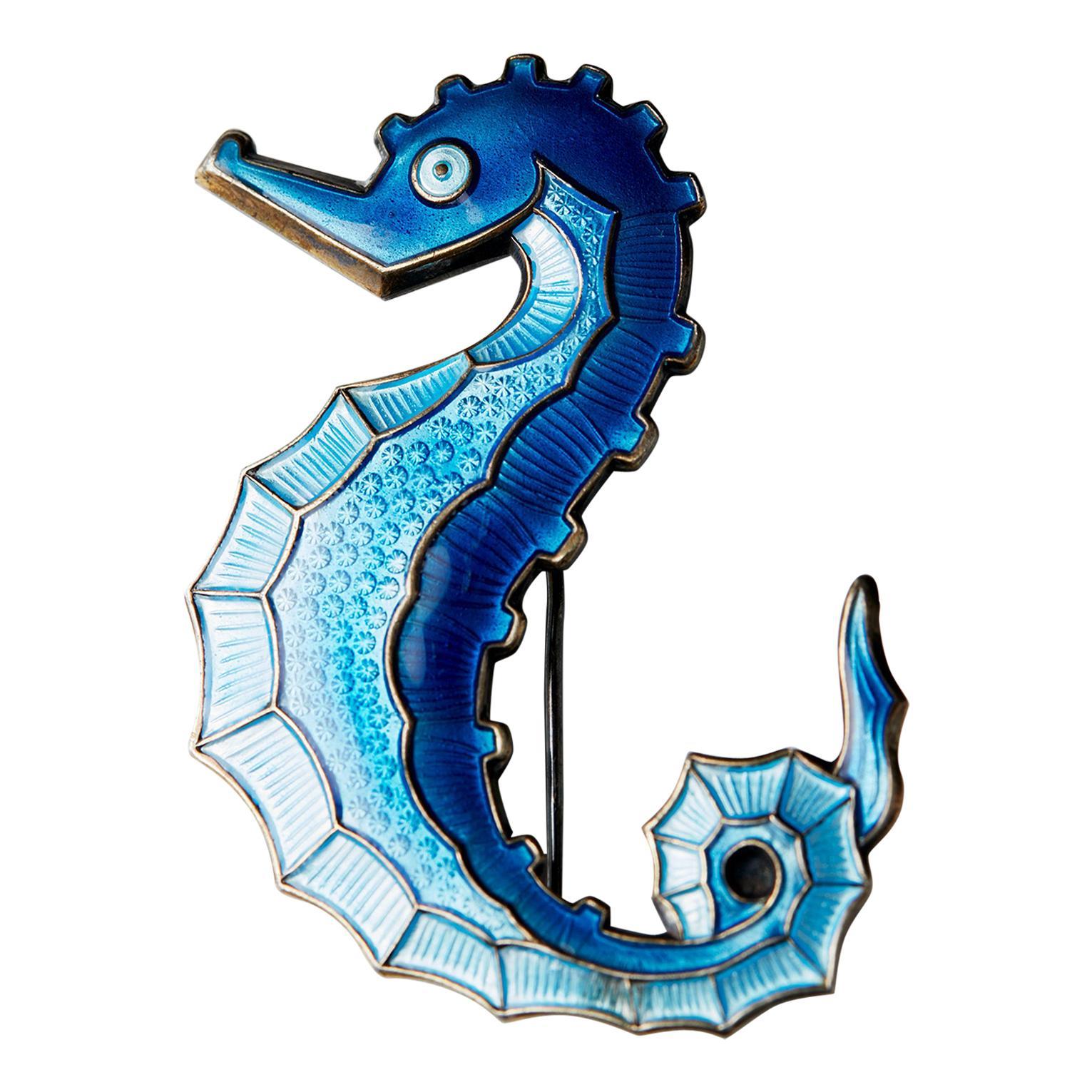 Seahorse Pin Designed by David-Andersen, Norway, 1960s