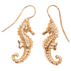 Seahorse Rose Gold Dangle Earrings Handcrafted in Italy by Botta Gioielli