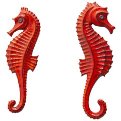 Seahorses Ceramic Wall Plaques Designed by F. Sanchez and Bayer, Belgium, 1960s