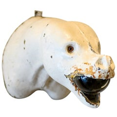 Seal Head with Glass Orb Wall Sculpture