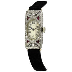 Seale Wristwatch Platinum and Diamonds, Rubies, 1930s, New York / Swiss