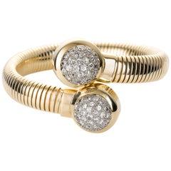 Seaman Schepps 14 Karat Gold and Diamond Tubogas Bracelet