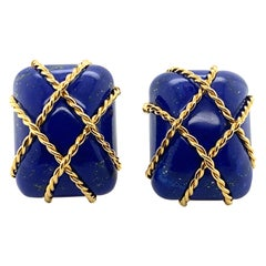 Seaman Schepps 18 Karat Gold and Lapis Lazuli Cage Earrings