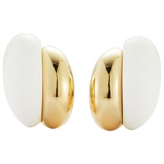 Seaman Schepps 18 Karat Yellow and White Ceramic Silhouette Earrings
