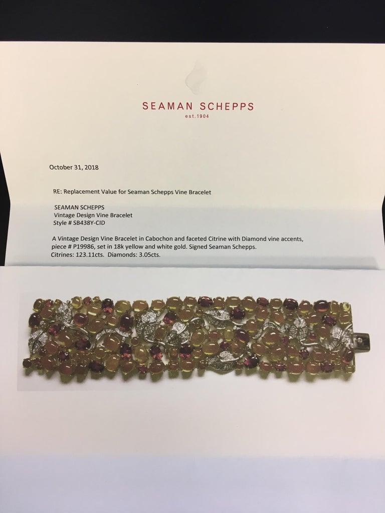 Seaman Schepps 18 Karat Gelb- und Weißgold Citrin und Diamantarmband 4