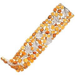 Seaman Schepps 18 Karat Yellow and White Gold Citrine and Diamond Bracelet