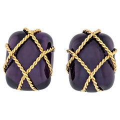Seaman Schepps 18 Karat Yellow Gold Amethyst Cage Earrings