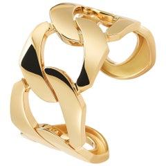 Seaman Schepps 18 Karat Yellow Gold Flat Link Cuff Bracelet