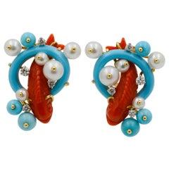 Seaman Schepps 18 Karat Yellow Gold Red Coral Koi Fish Earrings