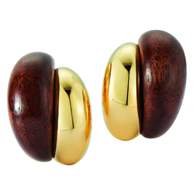 Seaman Schepps 18 Karat Yellow Gold Walnut Wood Silhouette Earrings For Sale