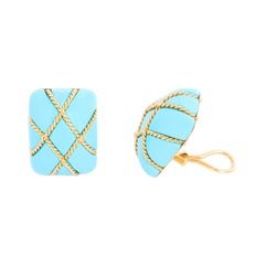 Seaman Schepps 18K Large Square Cage Turquoise Earrings