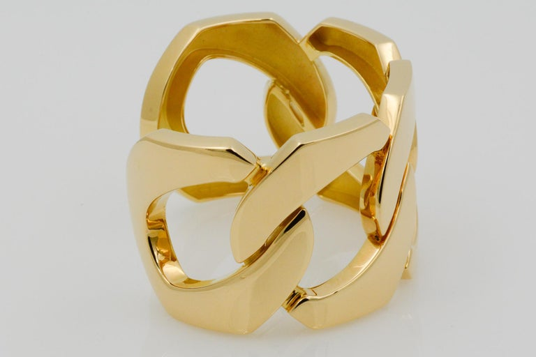 Seaman Schepps 18 Karat Yellow Gold Flat Link Cuff Bracelet In New Condition For Sale In Dallas, TX