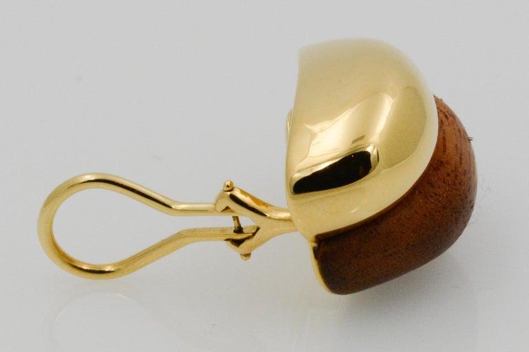 Seaman Schepps 18 Karat Yellow Gold Walnut Wood Silhouette Earrings For Sale 5