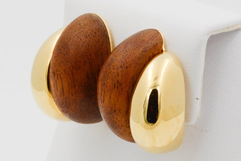 Modern Seaman Schepps 18 Karat Yellow Gold Walnut Wood Silhouette Earrings For Sale