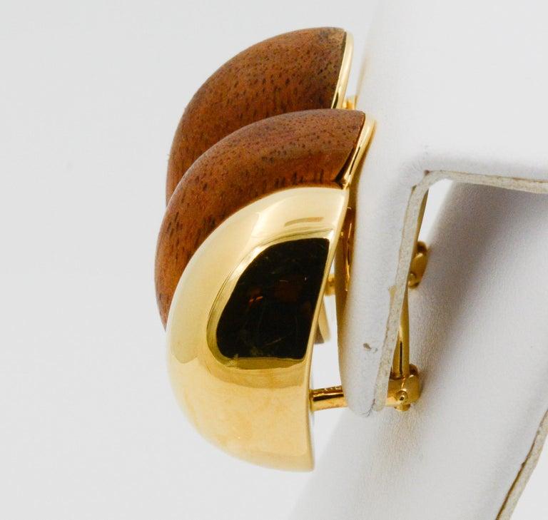 Women's Seaman Schepps 18 Karat Yellow Gold Walnut Wood Silhouette Earrings For Sale