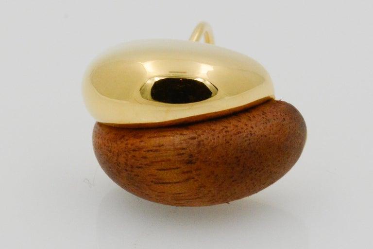 Seaman Schepps 18 Karat Yellow Gold Walnut Wood Silhouette Earrings For Sale 2