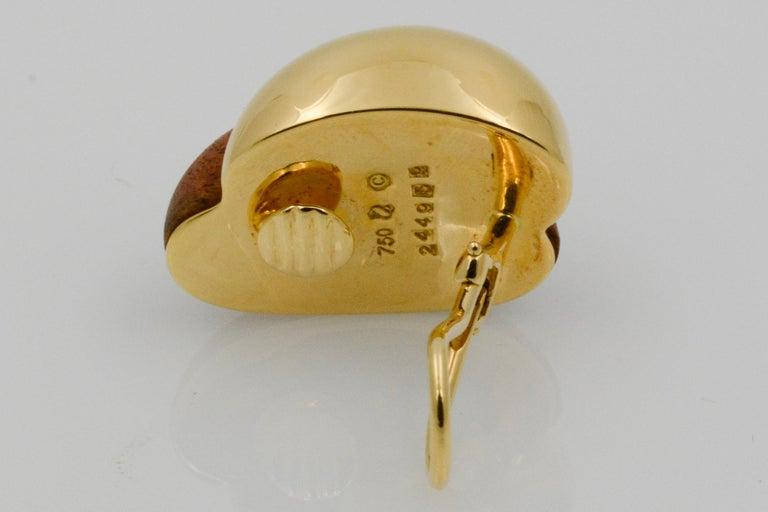 Seaman Schepps 18 Karat Yellow Gold Walnut Wood Silhouette Earrings For Sale 3