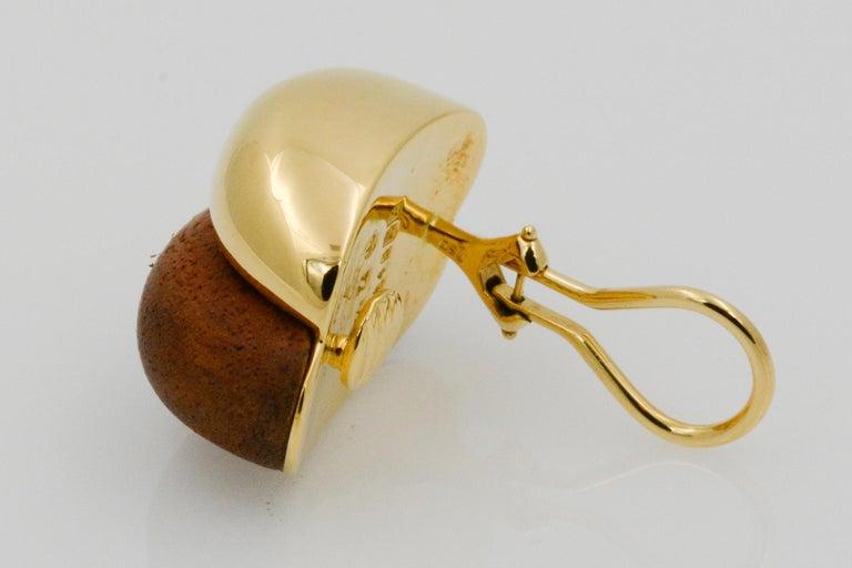 Seaman Schepps 18 Karat Yellow Gold Walnut Wood Silhouette Earrings For Sale 4